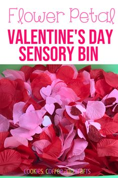 FLowers petals Valetine's Day sensory bin for toddlers, preschool and kindergarten. Perfect for colors, textures, and hand on learning. Valentine Sensory, Valentine Activities, Valentine Theme, Valentine Day Crafts, Valentines, Sensory Bins, Sensory Activities, Sensory Table, Sensory Play
