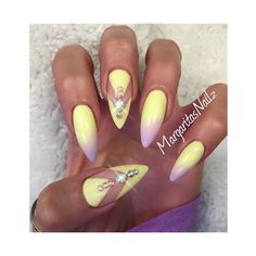 Pastel Yellow Nail Art Gallery ❤ liked on Polyvore featuring nails