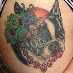 This well-coifed pup was tattooed by Annie Lloyd. #InkedMagazine #dog #tattoo #JuliaRoberts #PrettyWoman #fancy #classy #Pet #portrait #tattoos #inked #Ink #derp #flapperhat