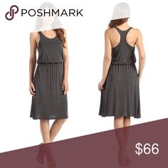 Racerback Elastic Waist Jersey Soft Midi Dress A figure flattering elastic waist band and drapey midi length make this the perfect everyday dress. Summer ready racerback style, neutral charcoal heather grey color, and ulta soft jersey fabric. Dress it up or down, this will quickly become a wardrobe favorite.  Also available in light heather grey.  95% rayon 5% spandex  Made in the USA 🇺🇸  ❌ Sorry, no trades.  bodycon body conscious bandage chiffon shirt dress shirtdress cocktail prom…