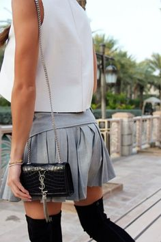 crop top, pleated mini, thigh-highs