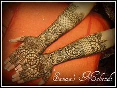 Creative mehndi design that joins mid-palm when both hands are put together. @Indianweddingsite.com