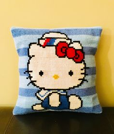 A personal favorite from my Etsy shop https://www.etsy.com/listing/554452392/hello-kitty-pillow-cross-stitch-pillow