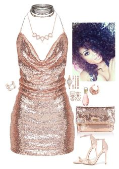 """""""a night out in rose gold"""" by kenni35 ❤ liked on Polyvore featuring Halston Heritage, Liliana, Anne Klein, Accessorize, Dorothy Perkins and Christian Dior"""