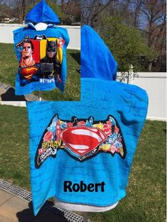 Super HERO Batman Superman inspired Hooded Poncho Towel Personalized by CACBaskets on Etsy Kids Hooded Towels, Hooded Poncho, Batman And Superman, Hoods, Trending Outfits, Handmade Gifts, Superhero, Inspired, Etsy