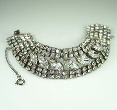 Vintage Weiss Bracelet  Wide Clear Rhinestone Bridal Jewelry. $75.00, via Etsy.