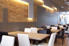 Ideas de #Cafeteria, Bar, Restaurante, estilo #Contemporaneo color  #Ocre,  #Marron,  #Blanco,  #Gris, diseñado por AIMA Estudio  #CajonDeIdeas