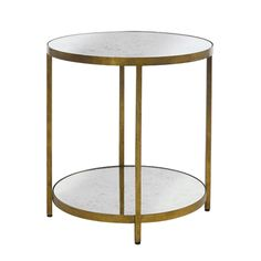 Manhattan Side Table in Gold - Gold leafed metal 2-tiers side table with antiqued mirror top