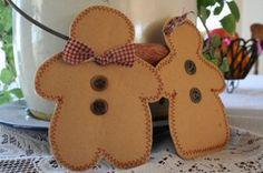 paper bag sewn gingerbread people