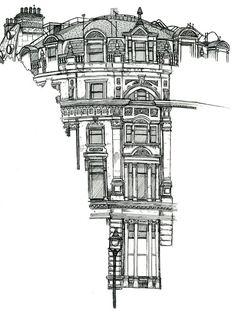 Location Drawings by Chris Burge, via Behance: