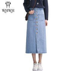 Nuevo 2017 Verano Solo Botón Retro Blue Jeans Falda Maxi para Mujer Ocasional Más Tamaño Vaqueros Feminino Saias Largo Denim faldas(China (Mainland))