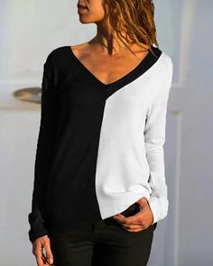 Casual Color Block Long Sleeves Polyester V-Neck T-shirts Blouses, veryvoga T Shirt Diy, Tank Top Shirt, Shirt Shop, Tops Boho, Formal Dresses Online, Plus Size Kleidung, Winter Fashion Casual, Wedding Dresses For Girls, Types Of Sleeves