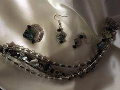 Abalone Bracelet Ring and Earrings Set by NorthernLightsKrysta