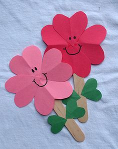 Hearts & popsicle sticks! Who doesn't love this craft? Or do it on a card or stick it in a plant!