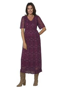 Women's Plus Size Pintuck Print Dress -- Quickly view this special  product, click the image : Plus size dresses