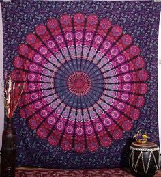 Mandala Bohemian Tapestry. Mandala Bohemian Tapestry screen and block printed tapestries bed cover from India Add an ethnic feel to your room with this cotton handmade wall hanging. Go for a dramatic makeover of your wall and this tapestry would become a conversational piece of art. A must have in any season for all ethnic savvy ones. This is a rare beauty not to be missed, a genuine collector item showing the result of masterly workmanship.