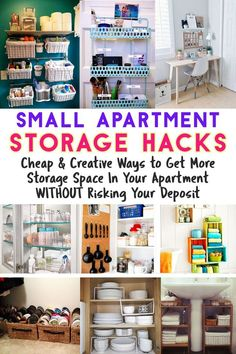 Small Apartment / Storage Hacks / Cheap & Creative Ways to Get More Storage Spac. Small Apartment / Storage Hacks / Cheap & Creative Ways to Get More Storage Space In Your Apartment WITHOUT Risking Your Deposit Small Apartment Hacks, Small Apartment Organization, Apartment Cleaning, Small Apartment Living, Small Apartment Decorating, Organization Ideas, Bathroom Organization, Organizing Small Apartments, Clothing Organization