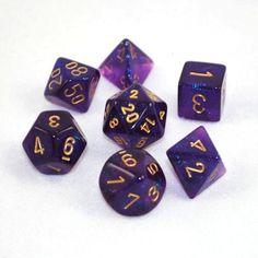 Set of 7 Chessex Borealis Royal Purple/gold RPG Dice