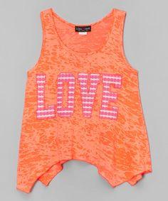 Look at this #zulilyfind! Orange 'Love' Tank - Girls #zulilyfinds