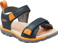 Soft, breathable jersey lines the leather straps of this open-toe sandal. Bright stripes cover the leather-lined footbed, and an innovative probiotic treatment provides natural odor control.