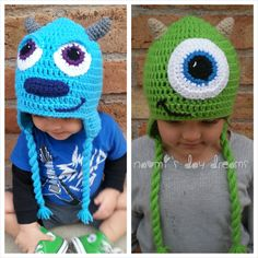 Monsters Inc. inspired Crochet Hat with earflaps, Mike or Sully for Infant, Baby, Toddler, Child, or Adult