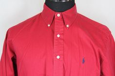 RALPH LAUREN Mens Red Long Sleeve Button Front 100% Cotton Shirt sz L Large #RalphLauren #ButtonFront