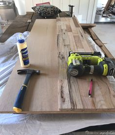 Making a wooden countertop is a fairly simple DIY that will add warmth and character to any room. Furniture Projects, Home Projects, Diy Furniture, Diy Wood Countertops, Wood Countertop Bathroom, Pallet Countertop, Butcher Block Countertops, Kitchen Redo, Diy Home Improvement