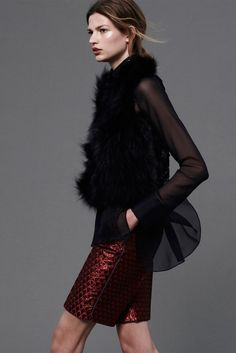 #J.Mendel Resort 2013  Glamorous black fur with sheer sleeves.