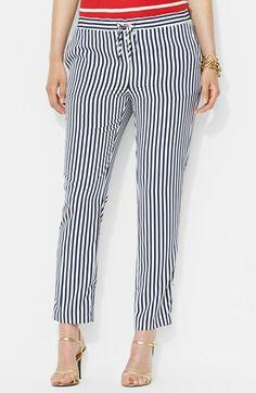 Lauren Ralph Lauren Stripe Drawcord Pants (Plus Size) | Nordstrom http://fave.co/1pYVCO3