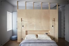 A Brooklyn brownstone features a DIY plywood headboard with a low recessed shelf, perfect for stashing current reads. See In Bed-Stuy, Brooklyn, a Renovated Brownstone with Inspired Solutions. Photograph by Jonathan Hokklo. Closet Bedroom, Bedroom Wall, Bedroom Furniture, Bedroom Decor, Closet Wall, Closet Space, Bedroom Shelves, Bedroom Storage, Bedroom Ideas