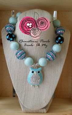 Owl Necklace, Chunky Beads, Statement Piece, Girls Necklace, GIfts for Her, Blue Necklace, Toddler Necklace, Teacher Gift, Bling Jewelry