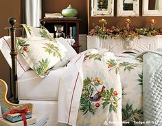 Bedroom: Wonderful Bedrooms in Christmas Decorating Themes, Lovely Holidays Bedroom Decorations with Beautiful Greenery White Floral Bed Cover and Throw Pillows Motives also Wonderful Yellow Candles and Flowers Mantel Decor