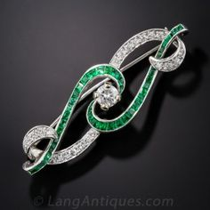 Art Deco Diamond and Emerald Scroll Pin Estate Vintage Antique Jewelry #langantiques #vintagebrooches