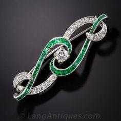 Art Deco Diamond and Emerald Scroll Pin Estate Vintage Antique Jewelry…