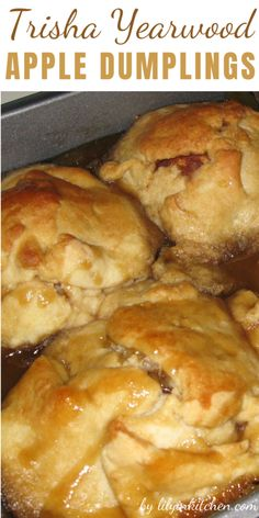 Dessert doesn't have to be fancy to be good, these Trisha Yearwood Apple Dumplings are always tasty and super easy! Apple Dessert Recipes, Apple Recipes, Easy Desserts, Fall Recipes, Delicious Desserts, Fruit Dessert, Potluck Recipes, Sweets Recipes, Sweet Desserts