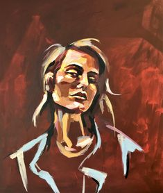 Mesmerising original painting of an insouciant young woman by Florence Lee that emits an all-round cool vibe. It will bring an edgy charm to any contemporary home. Acrylic on deep edge box canvas Dimensions: 51 cm x 61 cm x 4 cm Original Artwork, Original Paintings, Portrait Art, Portraits, Artwork Images, People Art, Contemporary Paintings, Online Art Gallery, Dark Red