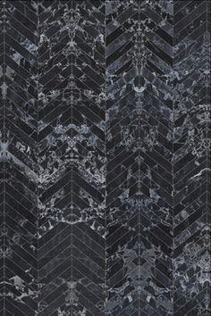 PHM-55 Black Marble Wallpaper Herringbone Tiles - 8.1 x 7.7 - By Piet Hein Eek