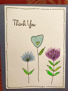 watercolor thank you card Watercolor Projects, Watercolor Cards, Watercolor Flowers, Watercolor Postcard, Cute Cards, Diy Cards, Your Cards, Karten Diy, Paint Cards