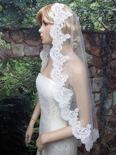 wedding bridal lace mantilla veil 50x50 fingertip by alexbridal, $59.99