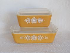Set of 2 Vintage Pyrex Butterfly Gold Refrigerator Jars with Lids Number 502 and 503 NO CHIPS Pyrex Refrigerator Dishes. $24.50, via Etsy.