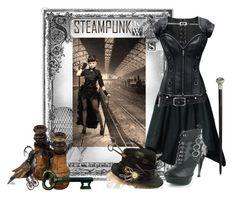 """Steampunk fashion"" by hannahmariiie ❤ liked on Polyvore"