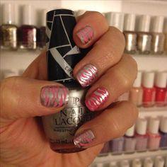 Pink silver zebra nail art