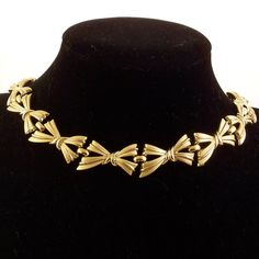 Vintage Trifari Necklace Gold Bows Choker by RebeccasVintageSalon, $24.00
