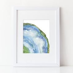 Watercolor Agate Art Print - Geode Slice - Blue Green Agate - Chakra stone - Various Sizes