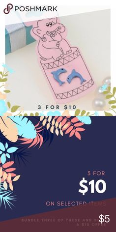 Blue Dolphin Stud Earrings These are basic stud earrings on a standard gauge post. $5 for one pair of bundle 3 for just $10! Jewelry Earrings