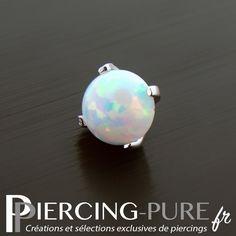Microdermal Or blanc Opale griffée - Piercing-Pure Labret, Piercing Tattoo, Piercings, 14 Carat, Serti, Body Mods, Stud Earrings, Pure Products, Jewelry