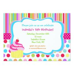 Cupcake Birthday Invitations Rainbow Cupcake Birthday Party Invitations