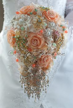 Peach Wedding Brooch Bouquet. Soft Tones Pale by Rubybloomscom
