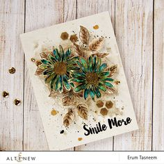 GORGEOUS golds & browns grunge card using Smile More stamp set by Altenew, water colored with Gansai Tambi via pr0digy0