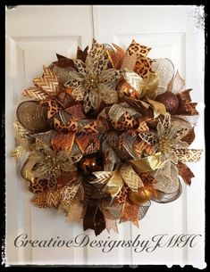 Holiday Deco Mesh Wreath by CreativeDesignsJMH on Etsy
